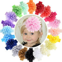 20pcs 4.5 Inch Chiffon Flower Bows Lace Headbands for Baby Girls Infants Toddler