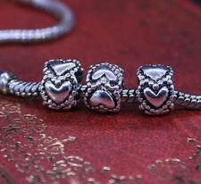 Heart Love Valentine Style Design Charm Bead for European Bracelet - UK SELLER