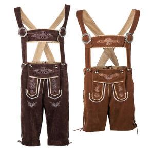 Mens Oktoberfest Bavarian Lederhosen German Traditonal Suspender Shorts