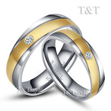 BRILLANT T&T 316L Stainless Steel Gold Stripe Wedding Band Ring CZ For Couple