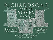 Richardson's 32 Crochet Yokes #10 c.1917 Vintage Patterns to Make Lace Yokes
