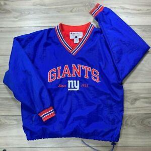 Vtg Champion New York Giants V-Neck Pullover Nylon Vintage Windbreaker Men's XL