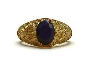 14K Gold Sapphire Ring 7x9 mm Oval Natural Blue Sapphire Gold Ring Heavy Gold