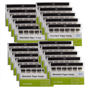 50Pack Dental Root Canal Endodontic Cleaning Absorbent Paper Points PP02 40#