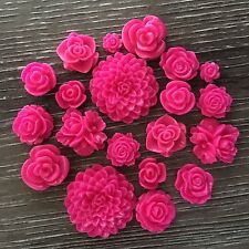 20 Pink Mixed Flower Resin Cabochon Flatback Embellishments DIY craft earrings