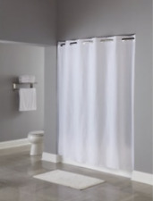 "Hookless White Vinyl Shower Curtain 71 x 74"" , Raised Pin Dot Pattern"