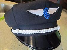 VINTAGE OLD SCHOOL STYLE BIKER ROAD CAPTAIN'S HAT/CAP - WHEEL & WING PATCH !!