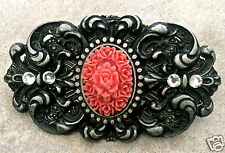 "Coral Rose Pin pewter crystals Vintage feel handmade NEW 3.25"" x 1.75"""