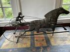 RARE! OLD 19th C Running Horse With Sulky 3-D WEATHERVANE Copper Iron Handmade