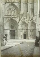 FRANCE Devant la Cathédrale de Bayeux c1900, Photo Stereo Plaque Verre VR9L12