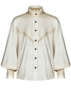 Punk Rave Mens Steampunk Poet Shirt Top Vintage Off White Pleated Goth Victorian