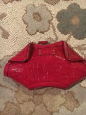 'Small Demanta' Croc Embossed Patent Deerskin Leather Clutch Red Burgundy $865