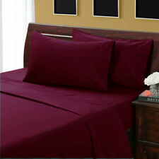 1000 Thread Count Egyptian Cotton 7Pc Bedding Items UK King Size Wine Solid