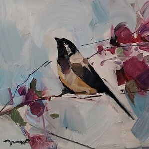 JOSE TRUJILLO Oil Painting IMPRESSIONISM BIRD FLORAL COLLECTIBLE MODERN ARTIST