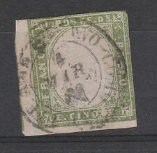 FRANCOBOLLI 1859 SARDEGNA C.5 VERDE GIALLO (STAMPA DIFETTOSA) Z/4980