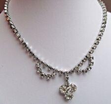 Ancien collier bijou vintage rivière cristaux diamant couleur argent  2156