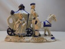 Blue & White Porcelain 18th Century Dressed Figures with Horses and Carriage