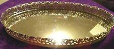 "New listing Vintage Vanity Perfume Oval 14x8"" Tray Mirrored Gold Filigree Siding Velvet"