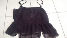 NWT  size Large Ladies FREE PEOPLE sheer camisole purple top India lace trim