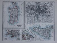 1901 Viktorianisch Landkarte Sardinien ROM Stadt Plan Umgebung Sicily Neapel San