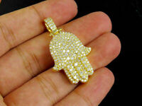 Men's 14K Yellow Gold Finish 2.20 Ct Round Cut Diamond Hamsa Hand Pendant Charm