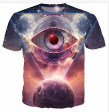 New Men Women 3D T-Shirt Funny Galaxy Eye Print Casual Short Sleeve Tops S-5XL