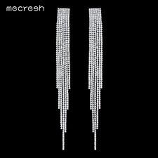 Mecresh Clear Crystal Long Tassel Earrings Bridal Dangle Earring Jewelry MEH1003
