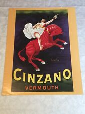 Cinzano Vermouth Man On Red Horse Vintage Reproduction Advertising Poster