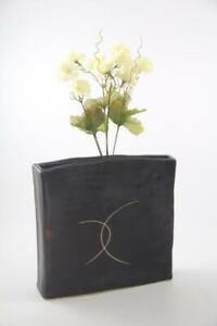 Oriental Trading Co DallasTX & Japan Slim Rectangular Raku Pottery Modern Vase