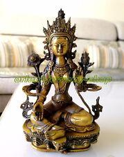 excellent Vintage Buddhism Bronze God Buddha Bodhisattva Tara(Green) Old Statue
