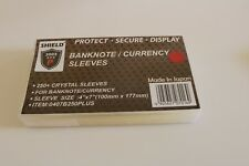 """250 Crystal Sleeves for Banknote Currency 4"""" x 7"""" =100 mm x 177 mm Free Shipping"""