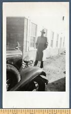Mystery Backlit Silhouette Man Film Noir And 1930s Auto Vintage SNAPSHOT Photo