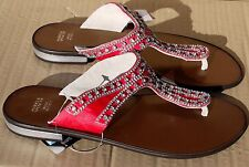 M&S leather pink satin & crystal flat sandals UK 5.5 NEW RRP £35