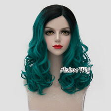 Black Mixed Turquoise Green 45CM Long Curly Cosplay Party Heat Resistant Wig