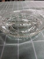 Vintage Clear Glass Round Divided Dish - 2 Section - Relish Nuts Or Candy
