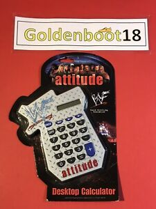 VINTAGE 2000 WWF WWE ATTITUDE DESKTOP CALCULATOR BNIB THE ROCK HHH KANE Y2J