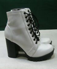 "US WOMEN Size 7.5     white  4""block heel Lace up   Ankle Sexy Boots"