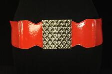 60'S STYLE KOOKY BRIGHT RED WAIST BELT,GEM / SILVER TONE SWIRL BUCKLE (SC23)