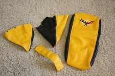1997-2004 C5 Corvette 4 piece Boot Kit in Synthetic Leather Black and Yellow