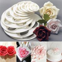 6x Fondant Cake Sugar Craft Decor Cookie Rose Flower Mold Gum Paste Cutter *