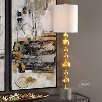 "SELIM MODERN XL 40"" STACKED METALLIC GOLD METAL SPHERES TABLE LAMP CONCRETE BASE"