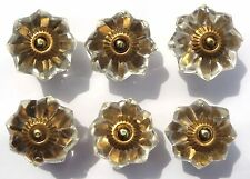 drawer cupboard door knobs handles pull cut glass clear brass flower x6 FREE P&P