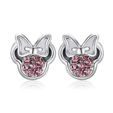 ZARD Minnie Mouse Stud Earrings in Silver Tone and Pink Crystals