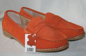 LADIES ORANGE SLIP ON SUEDE LOAFER WITH MEMORY FOAM INSOCK SIZE UK 7