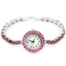 Sterling Silver 925 Genuine Natural Heat Enhanced Rich Pink Ruby Watch 7 Inch