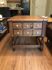 Vintage Ethan Allen Antiqued Pine Old Tavern Drawer End Coffee Side Table