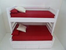 Dolls House Miniature 1:12th Scale Bedroom White Sleeper Bunk Bed w Trundle Bed