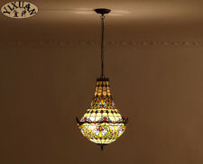 Tiffany Style Baroque Stained Glass Shade Pendant Tirple E27 Light Ceiling Lamp