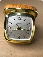 Vintage Europa Travel Alarm Clock in Brown Folding Case Beautiful UNTESTED rare