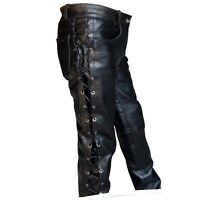 MIV Men Full Side Laces Jean Style Genuine Leather Pant Waist Size 28'' to 48''